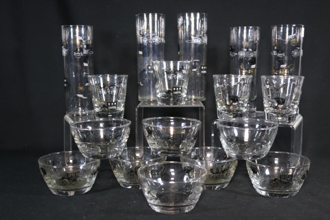 MID-CENTURY MODERN EQUESTRIAN GLASS  GROUPING - 4