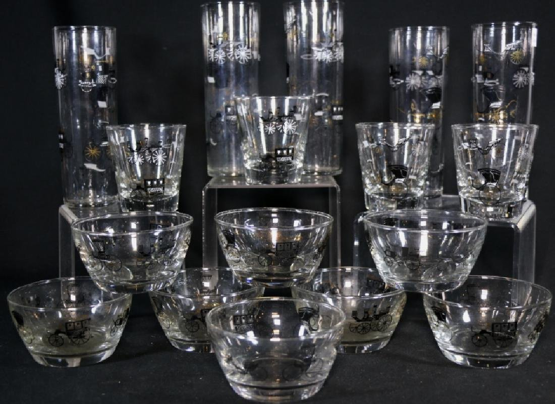 MID-CENTURY MODERN EQUESTRIAN GLASS  GROUPING - 5