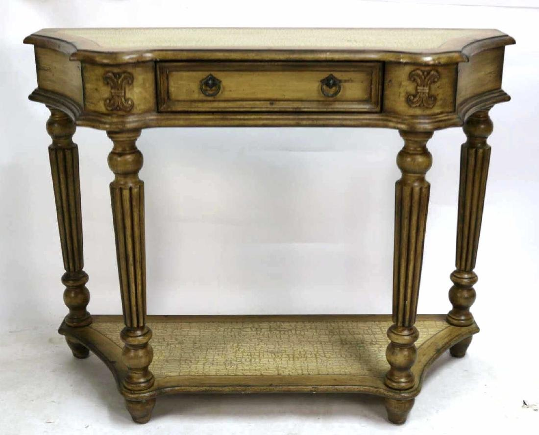 MODERN FAUX PAINTED TWO TIER CONSOLE TABLE