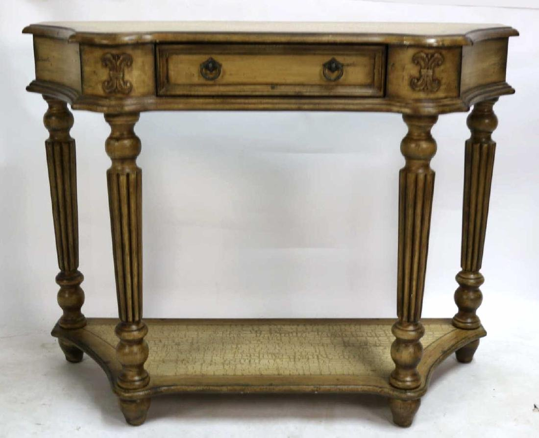 MODERN FAUX PAINTED TWO TIER CONSOLE TABLE - 4