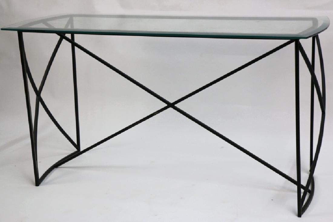 MID-CENTURY MODERN IRON BASE BEVELED GLASS CONSOLE
