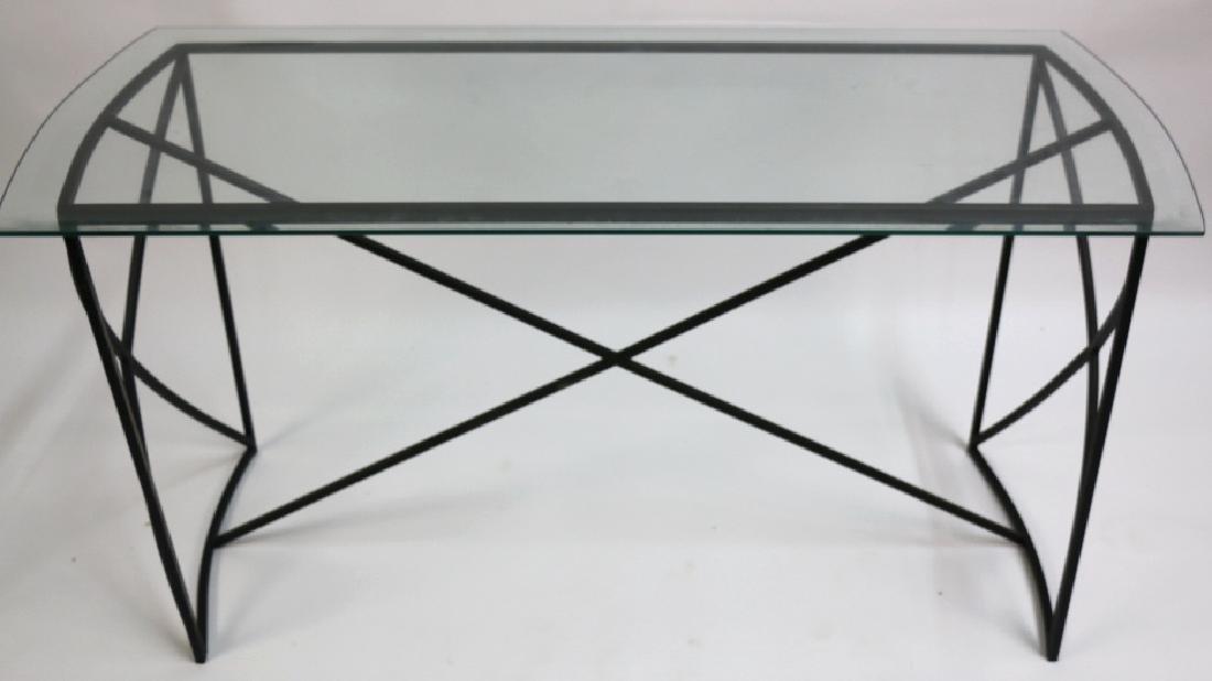 MID-CENTURY MODERN IRON BASE BEVELED GLASS CONSOLE - 2