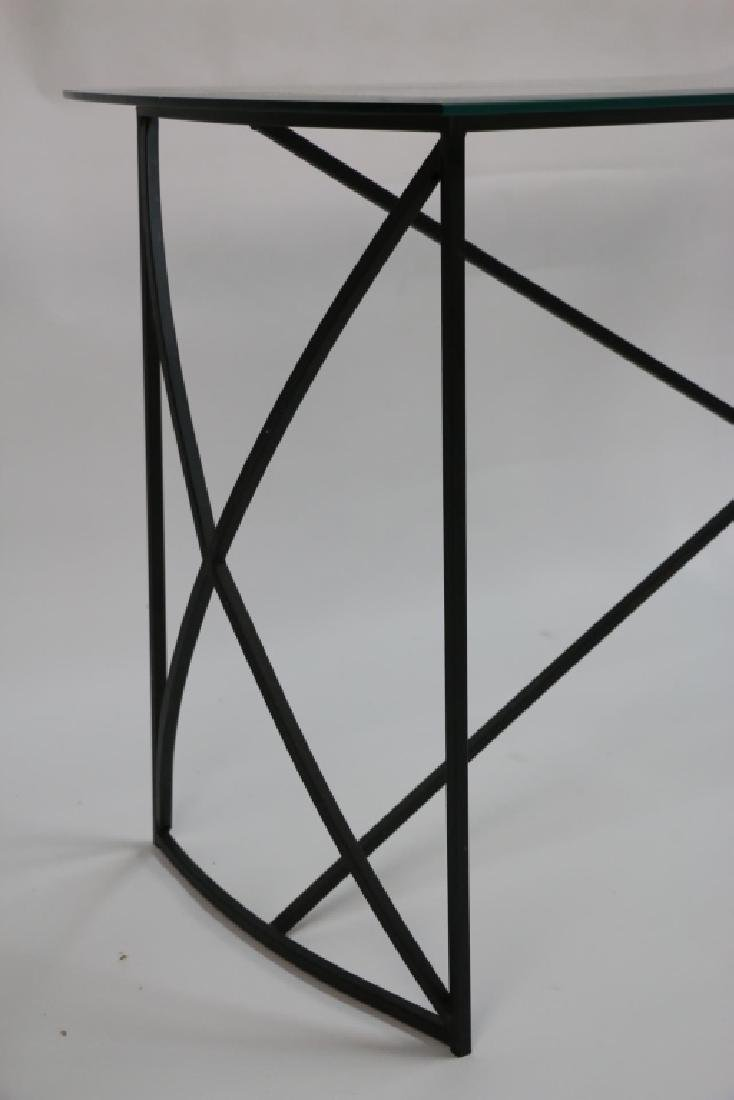 MID-CENTURY MODERN IRON BASE BEVELED GLASS CONSOLE - 3