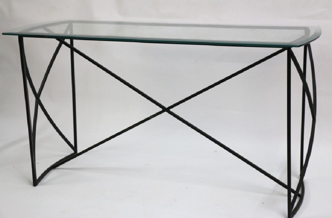 MID-CENTURY MODERN IRON BASE BEVELED GLASS CONSOLE - 4