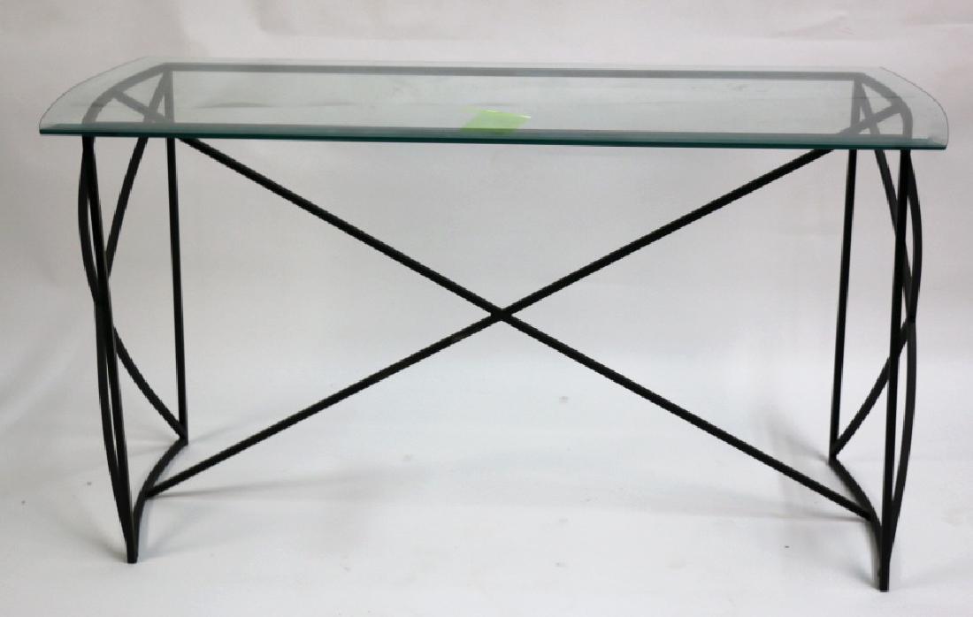 MID-CENTURY MODERN IRON BASE BEVELED GLASS CONSOLE - 5