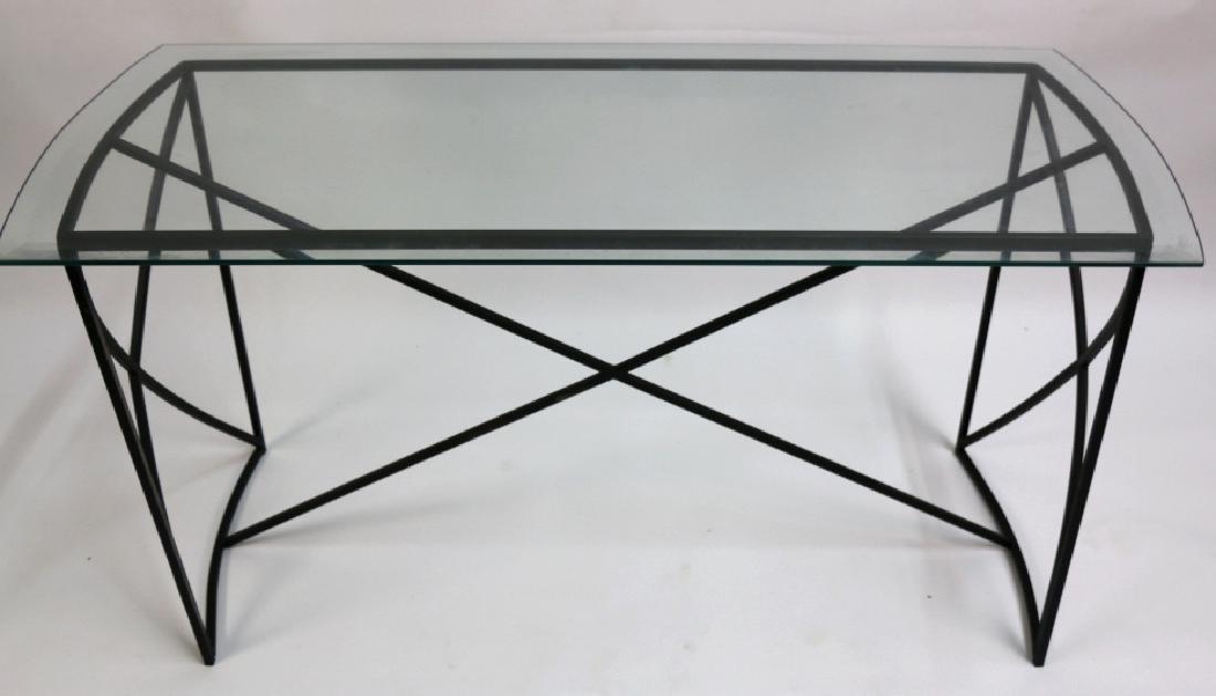 MID-CENTURY MODERN IRON BASE BEVELED GLASS CONSOLE - 6