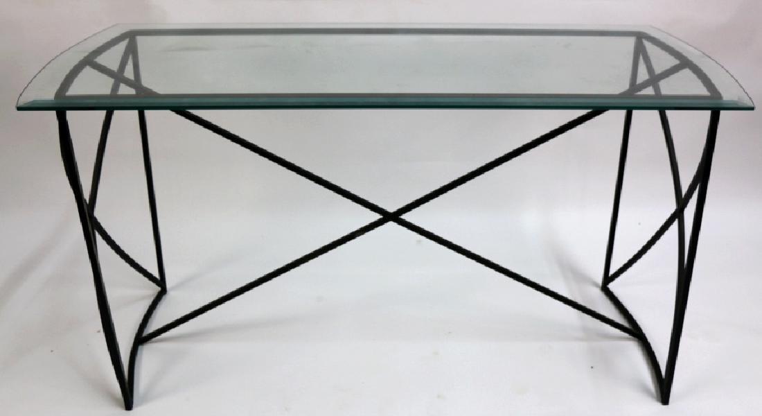MID-CENTURY MODERN IRON BASE BEVELED GLASS CONSOLE - 7