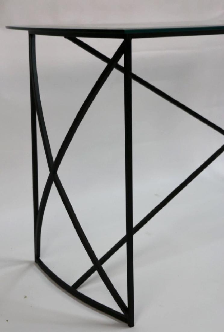 MID-CENTURY MODERN IRON BASE BEVELED GLASS CONSOLE - 8