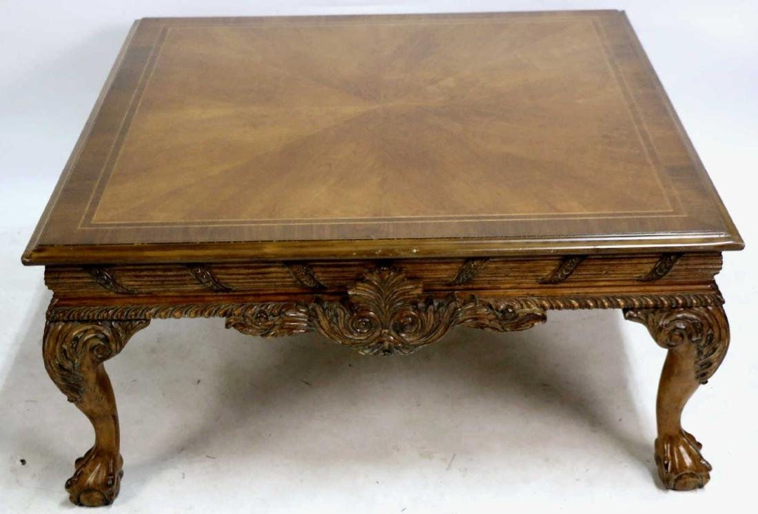 MAHOGANY HAND CARVED & BANDED COFFEE TABLE - 2