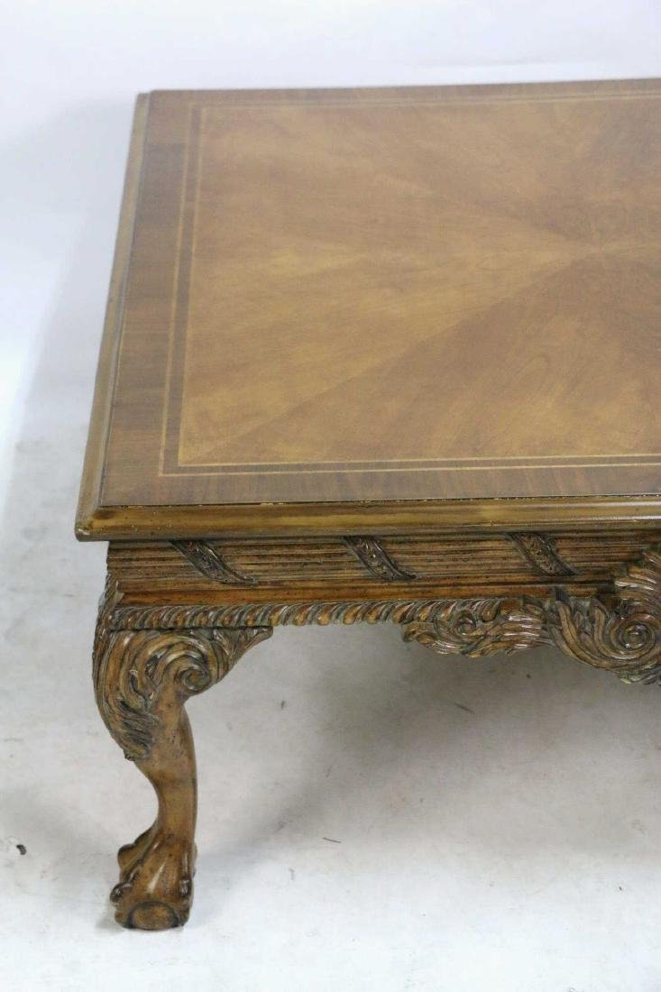 MAHOGANY HAND CARVED & BANDED COFFEE TABLE - 4