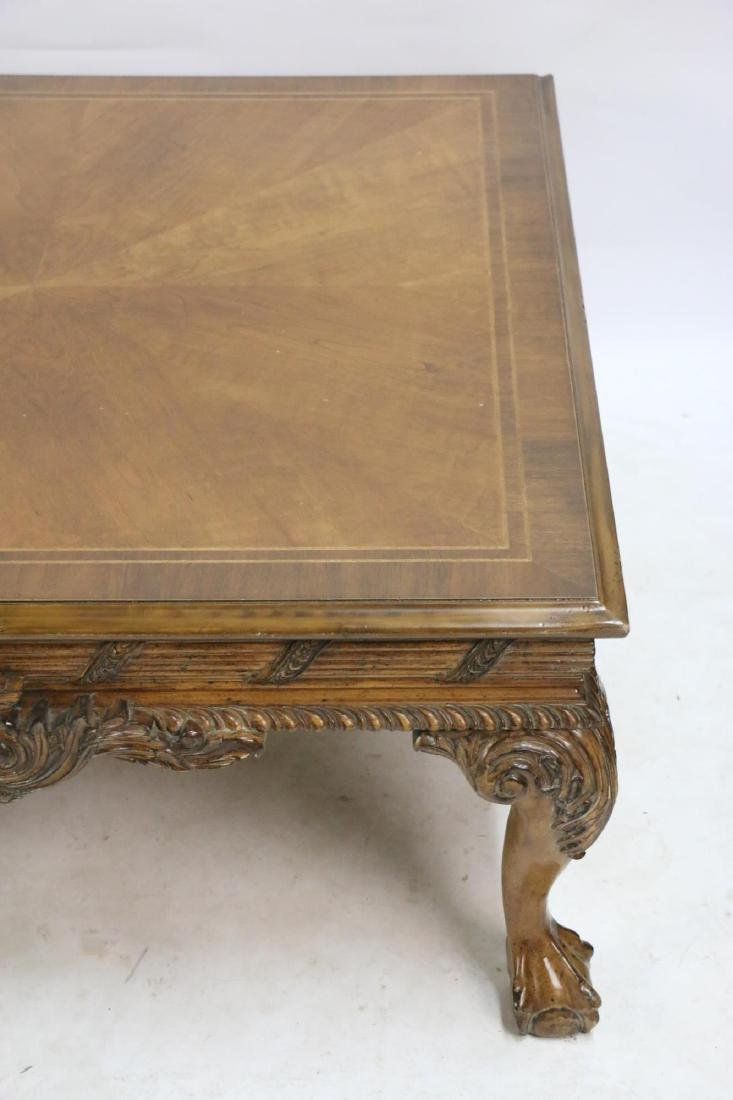 MAHOGANY HAND CARVED & BANDED COFFEE TABLE - 5