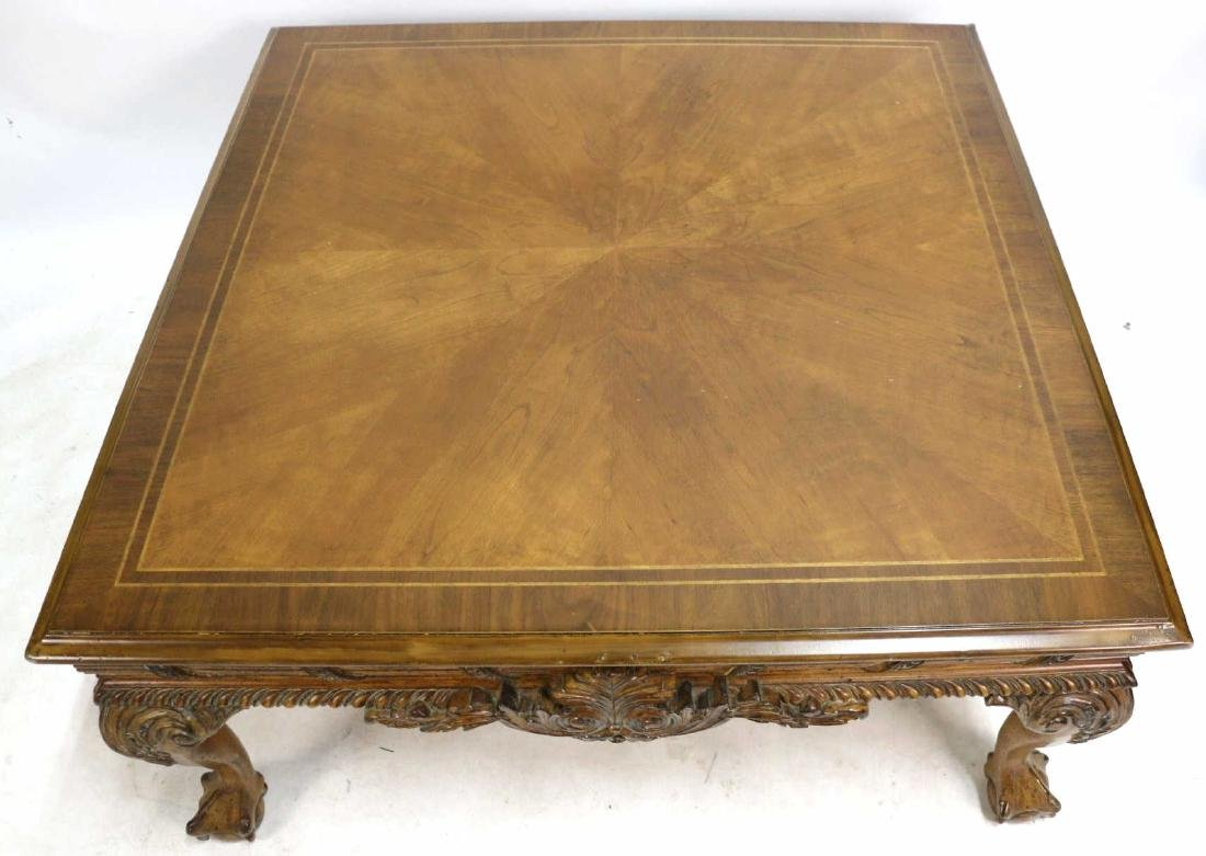 MAHOGANY HAND CARVED & BANDED COFFEE TABLE - 6