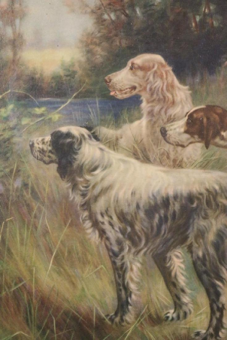 ANTIQUE HAND COLORED LITHOGRAPH OF SPANIELS - 3