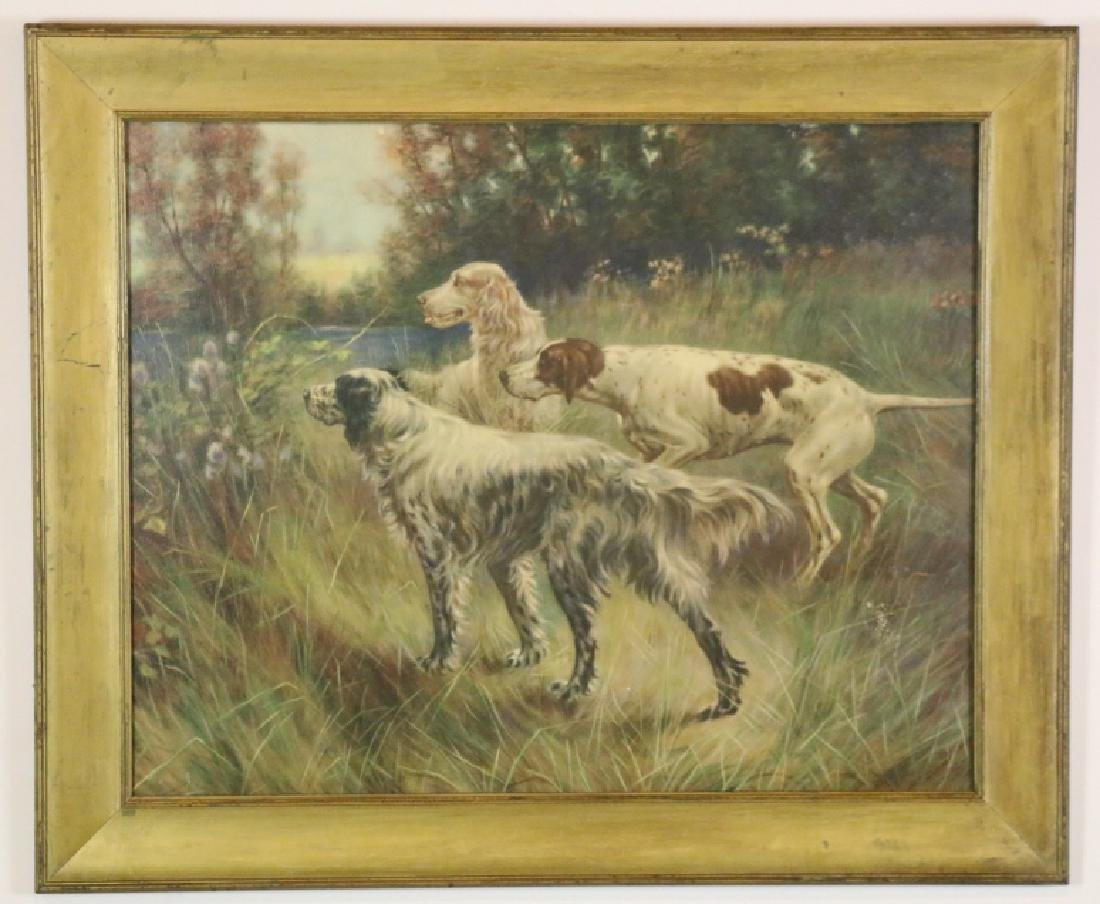 ANTIQUE HAND COLORED LITHOGRAPH OF SPANIELS - 4