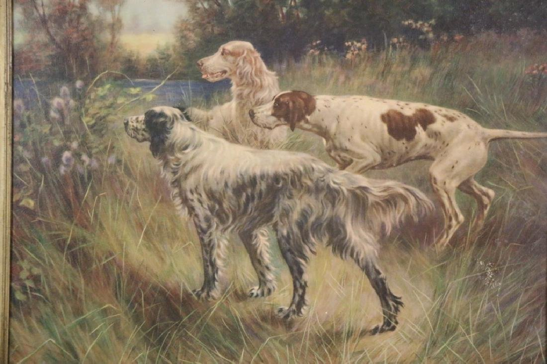 ANTIQUE HAND COLORED LITHOGRAPH OF SPANIELS - 5