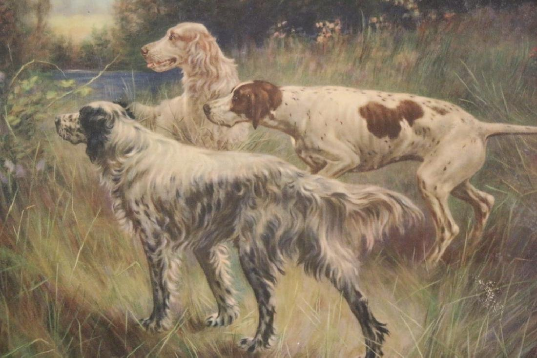 ANTIQUE HAND COLORED LITHOGRAPH OF SPANIELS - 6
