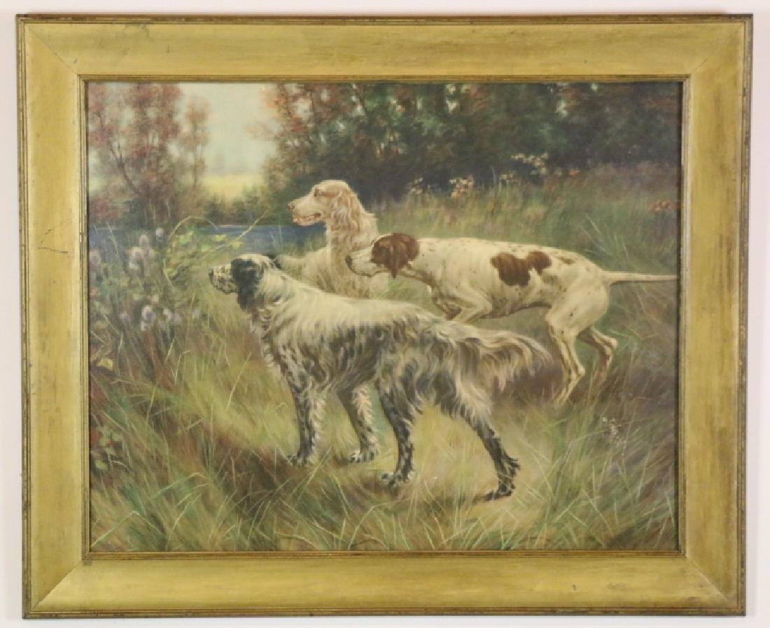 ANTIQUE HAND COLORED LITHOGRAPH OF SPANIELS - 7
