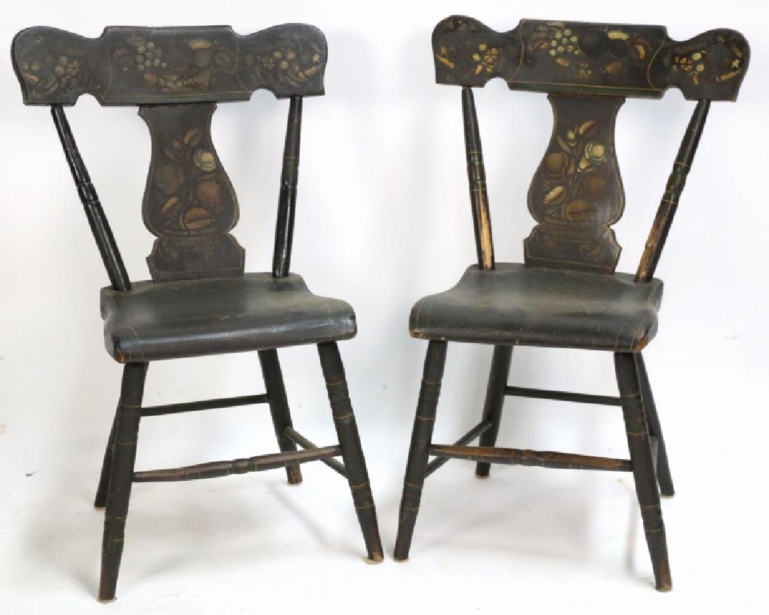 AMERICAN ANTIQUE STENCIL BACK SIDE CHAIRS