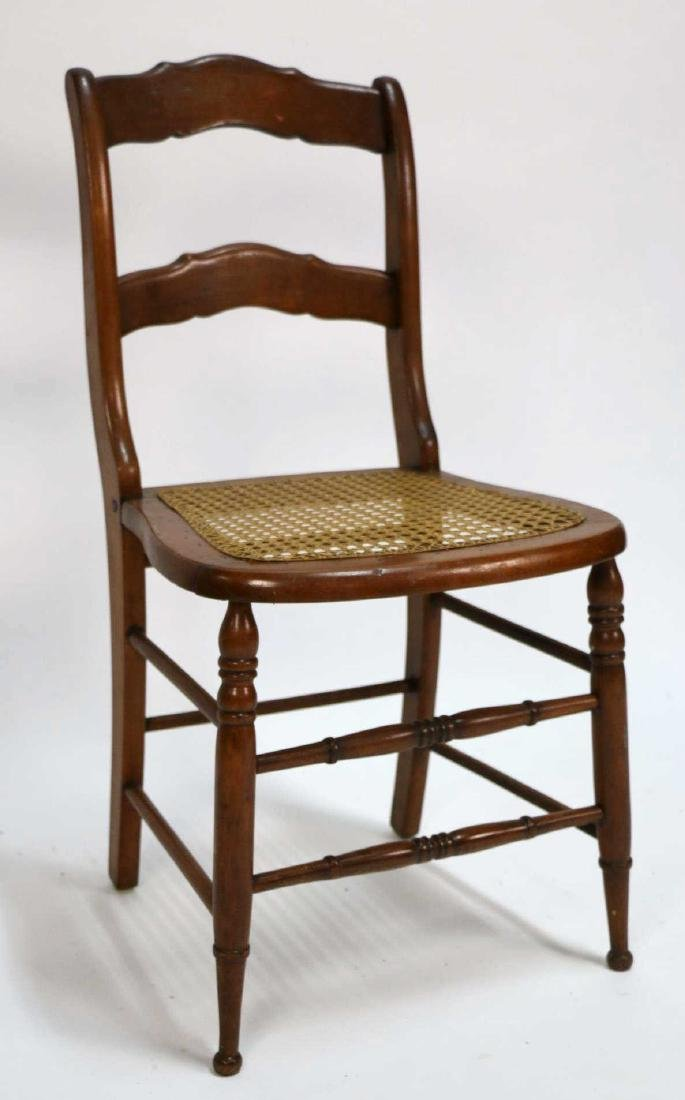 AMERICAN ANTIQUE CANED SIDE CHAIR