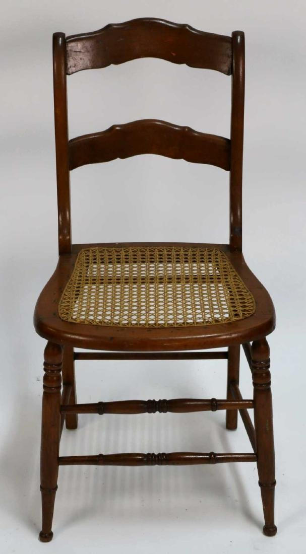 AMERICAN ANTIQUE CANED SIDE CHAIR - 2