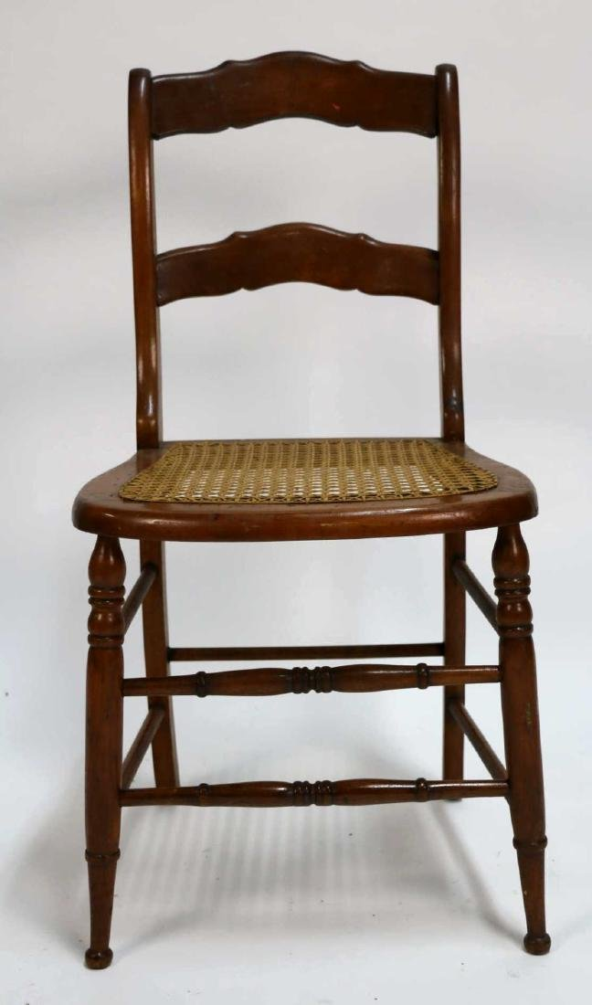 AMERICAN ANTIQUE CANED SIDE CHAIR - 3