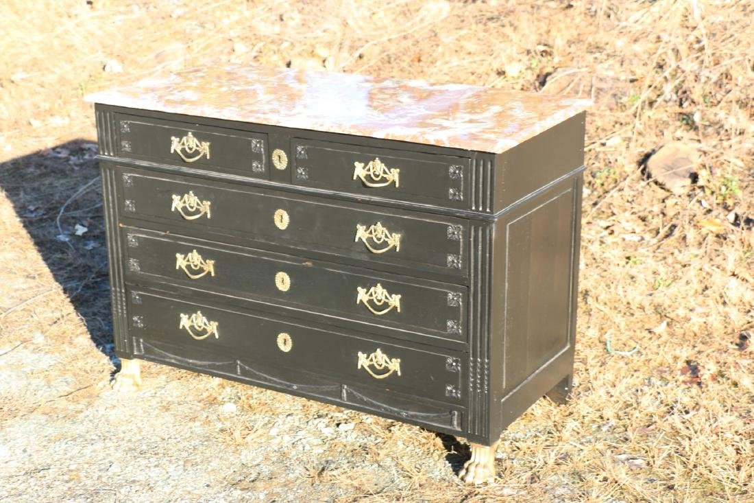 FRENCH ANTIQUE EBONIZED MARBLE TOP COMMODE - 5