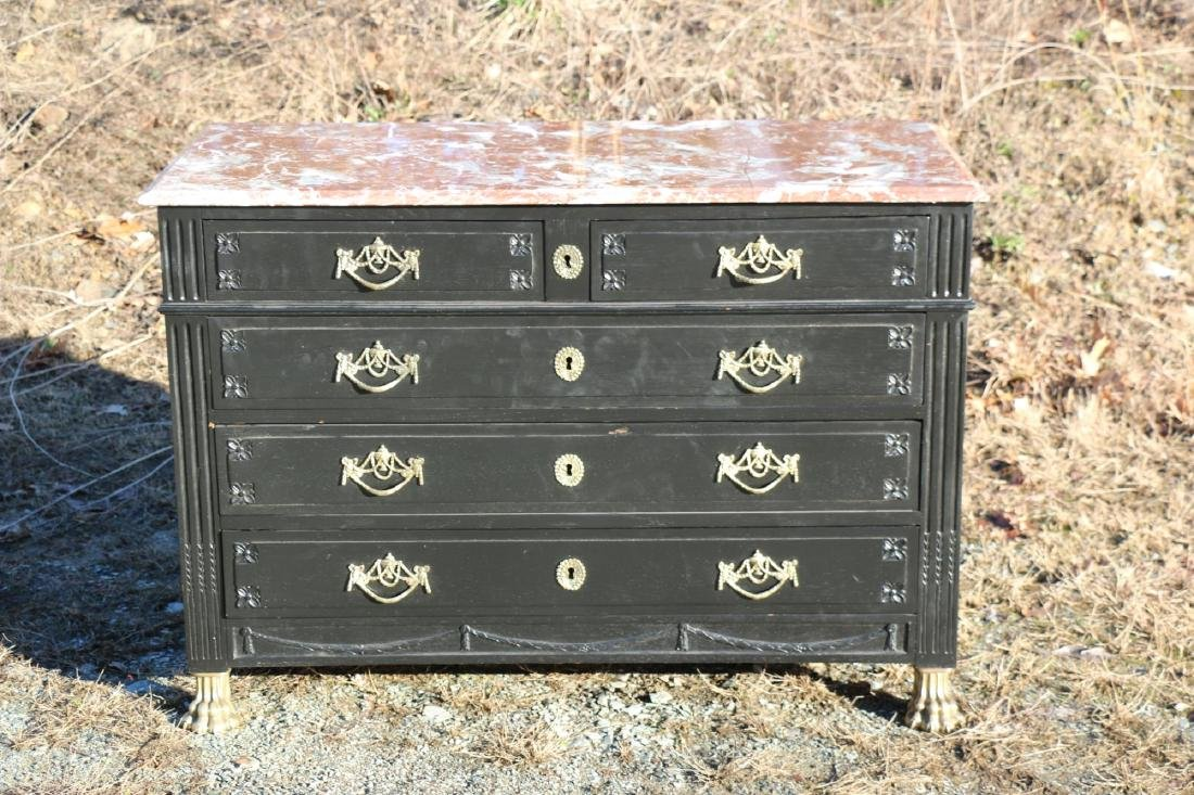FRENCH ANTIQUE EBONIZED MARBLE TOP COMMODE - 7