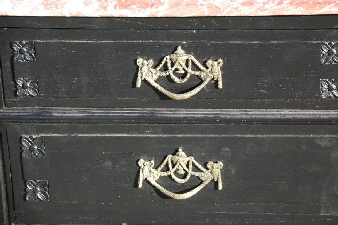 FRENCH ANTIQUE EBONIZED MARBLE TOP COMMODE - 9