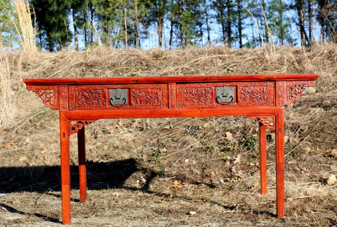 CHINESE ANTIQUE HAND CARVED ALTER CONSOLE TABLE
