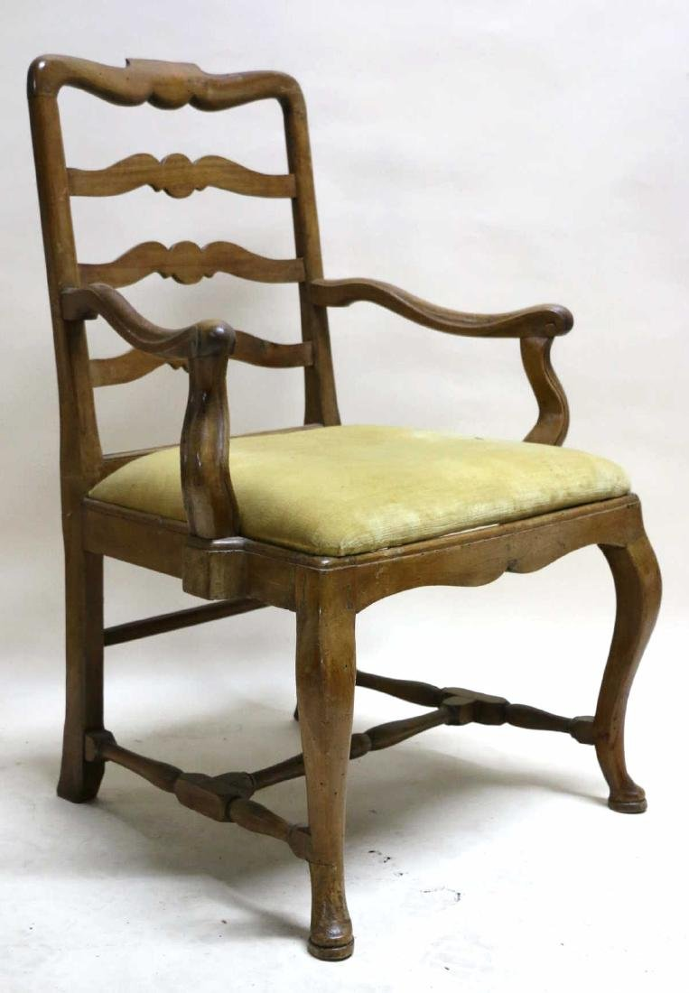 FRENCH WALNUT ANTIQUE HAND PEGGED ARMCHAIR