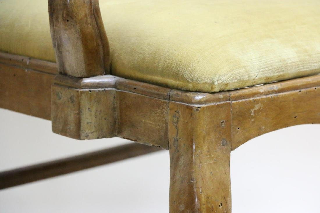FRENCH WALNUT ANTIQUE HAND PEGGED ARMCHAIR - 3