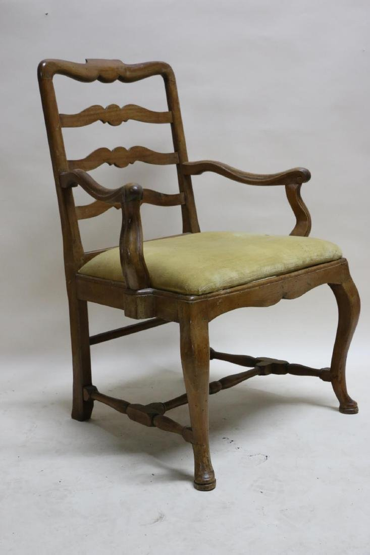 FRENCH WALNUT ANTIQUE HAND PEGGED ARMCHAIR - 6