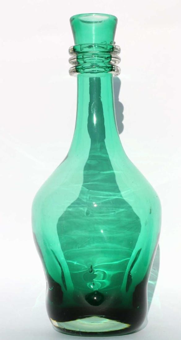 EMERALD ART GLASS DECANTER - 3