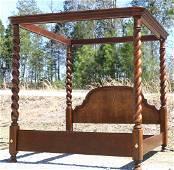 RALPH LAUREN MAHOGANY BARLEY TWIST KING CANOPY BED