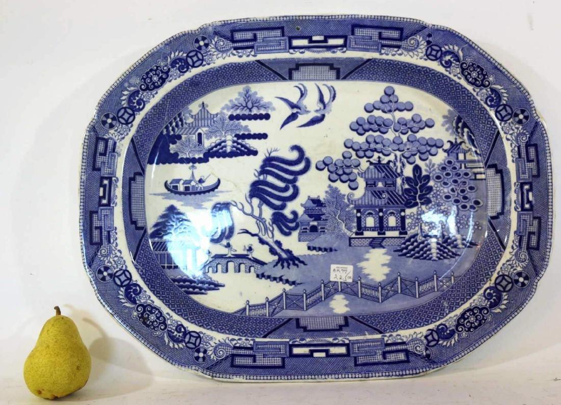ENGLISH ANTIQUE BLUE WILLOW SERVING PLATTER