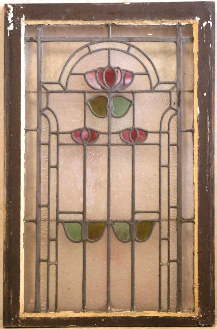 """ENGLISH ANTIQUE 33"""" VERTICAL STAINED GLASS PANEL"""