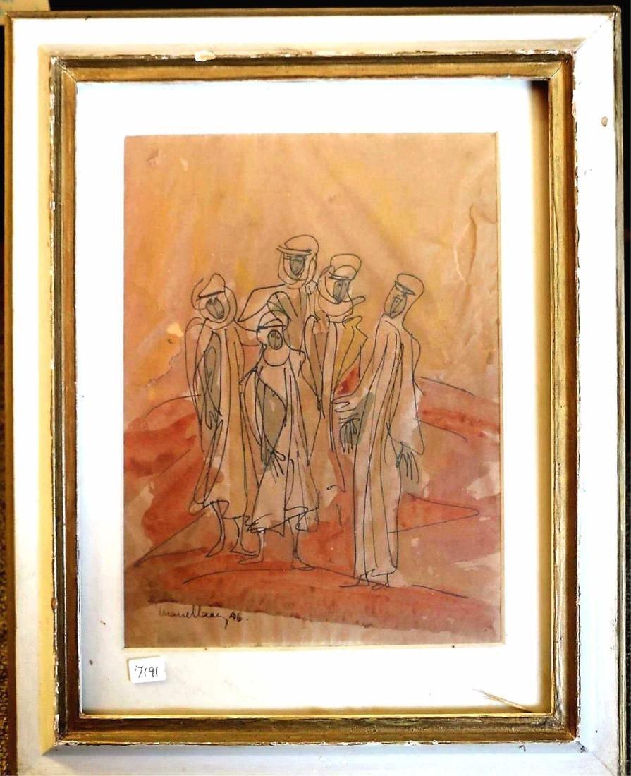 "MARCEL JANCO (ROMANIAN, 1895-1984) ""PILGRIMS"""