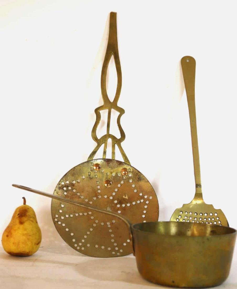 FRENCH COPPER COLANDER AND PAN GROUPING