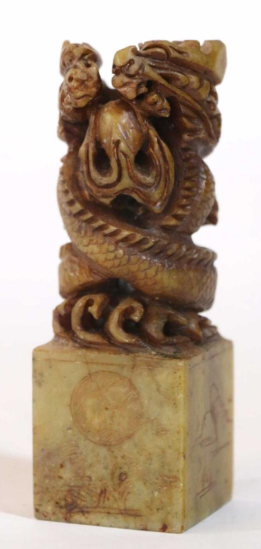 CHINESE VINTAGE DRAGON HAND CARVED SOAPSTONE CHOP