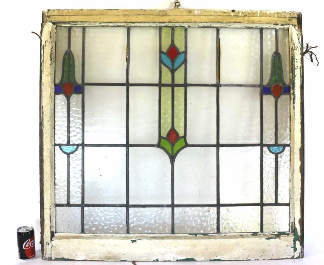 "ENGLISH  HORIZONTAL 35"" STAINED GLASS WINDOW PANEL"