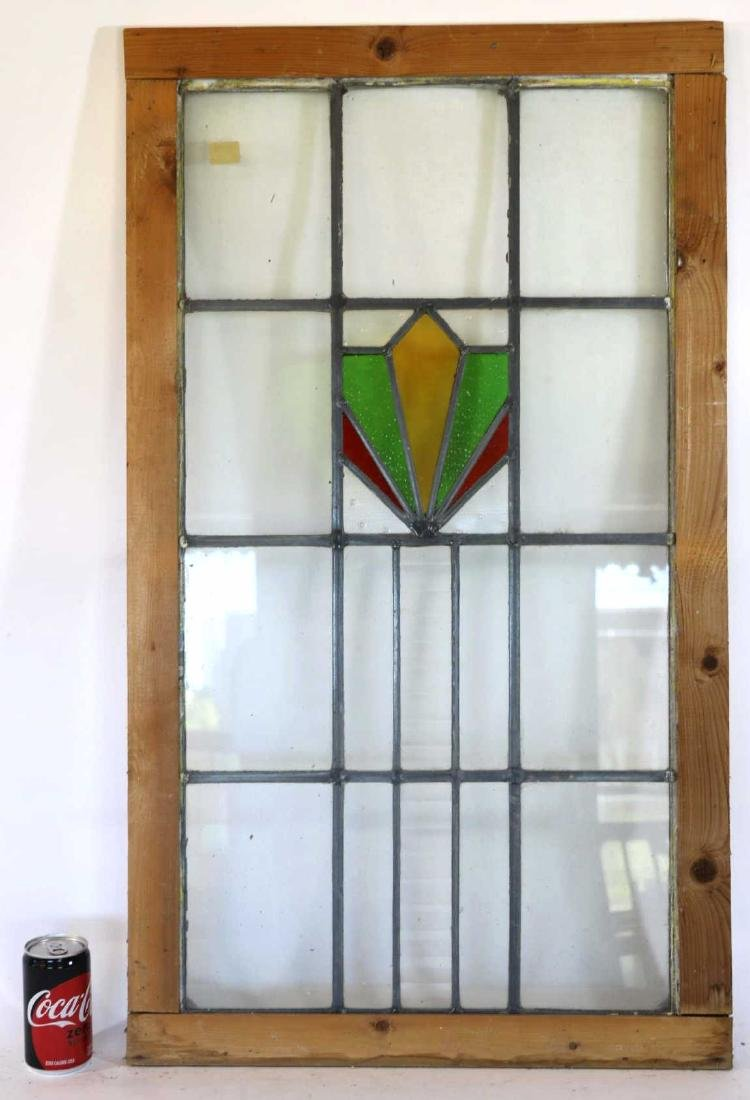 "ENGLISH 35"" VERTICAL STAINED GLASS WINDOW PANEL"