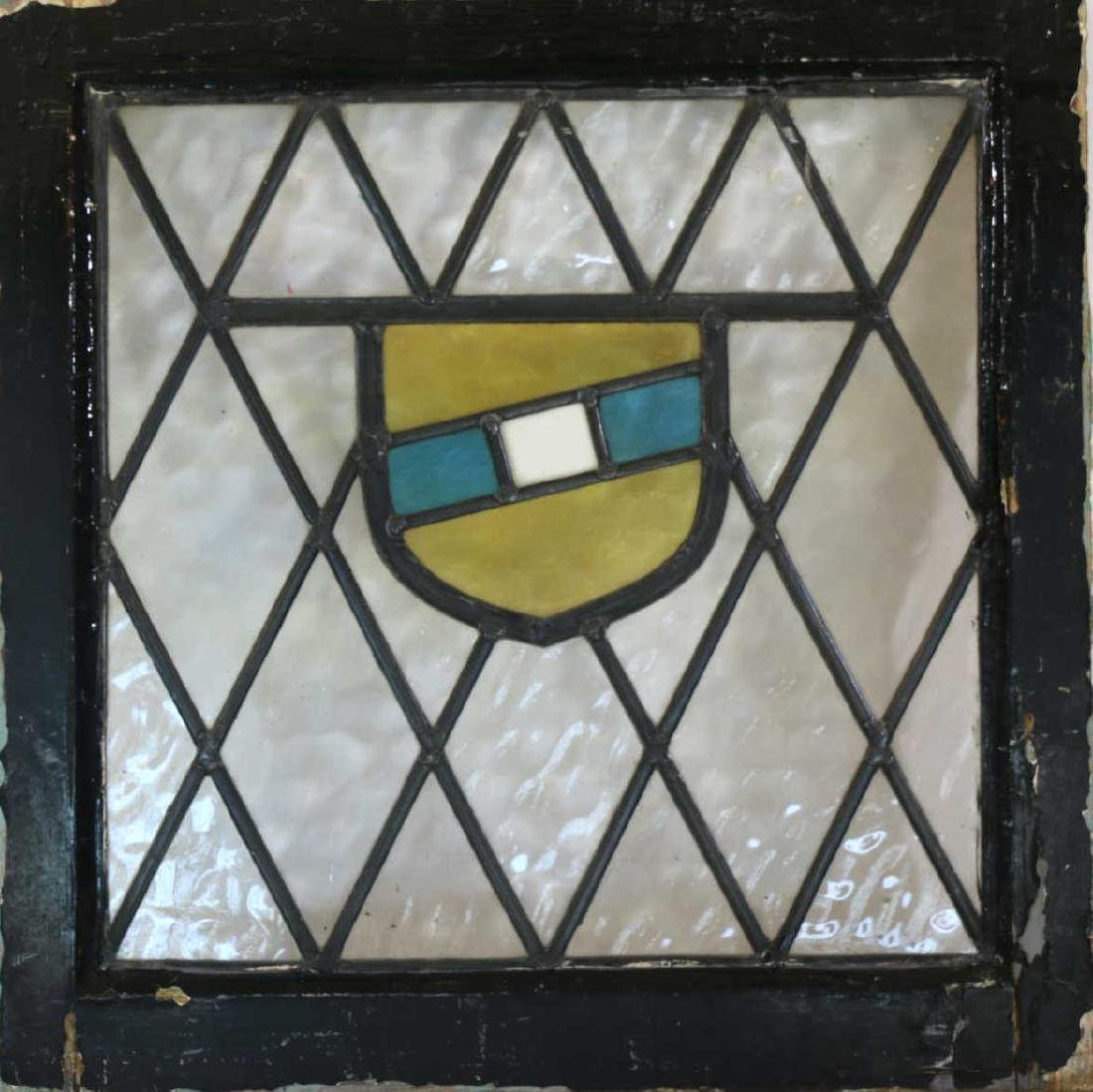"""ENGLISH ANTIQUE 21"""" SQUARE STAINED GLASS PANEL SET"""
