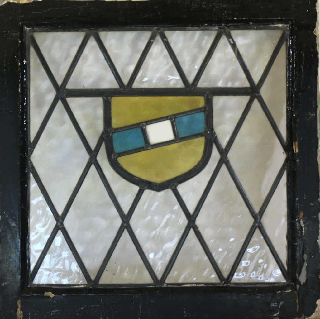 "ENGLISH ANTIQUE 21"" SQUARE STAINED GLASS PANEL SET"