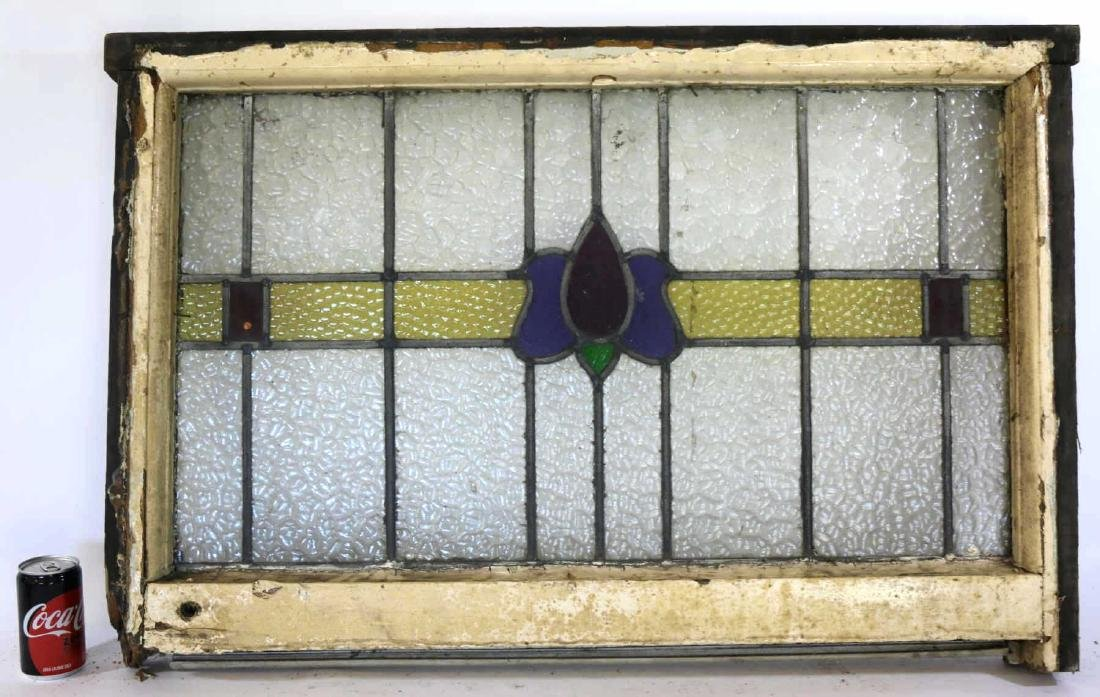 """ENGLISH ANTIQUE 36"""" HORIZONTAL STAINED GLASS PANEL"""
