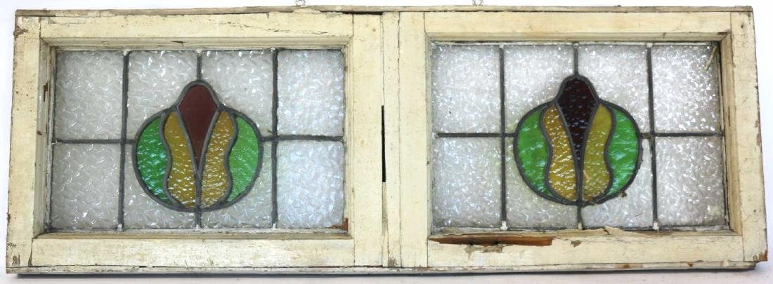 "ANTIQUE 42"" HORIZONTAL STAINED GLASS WINDOW"