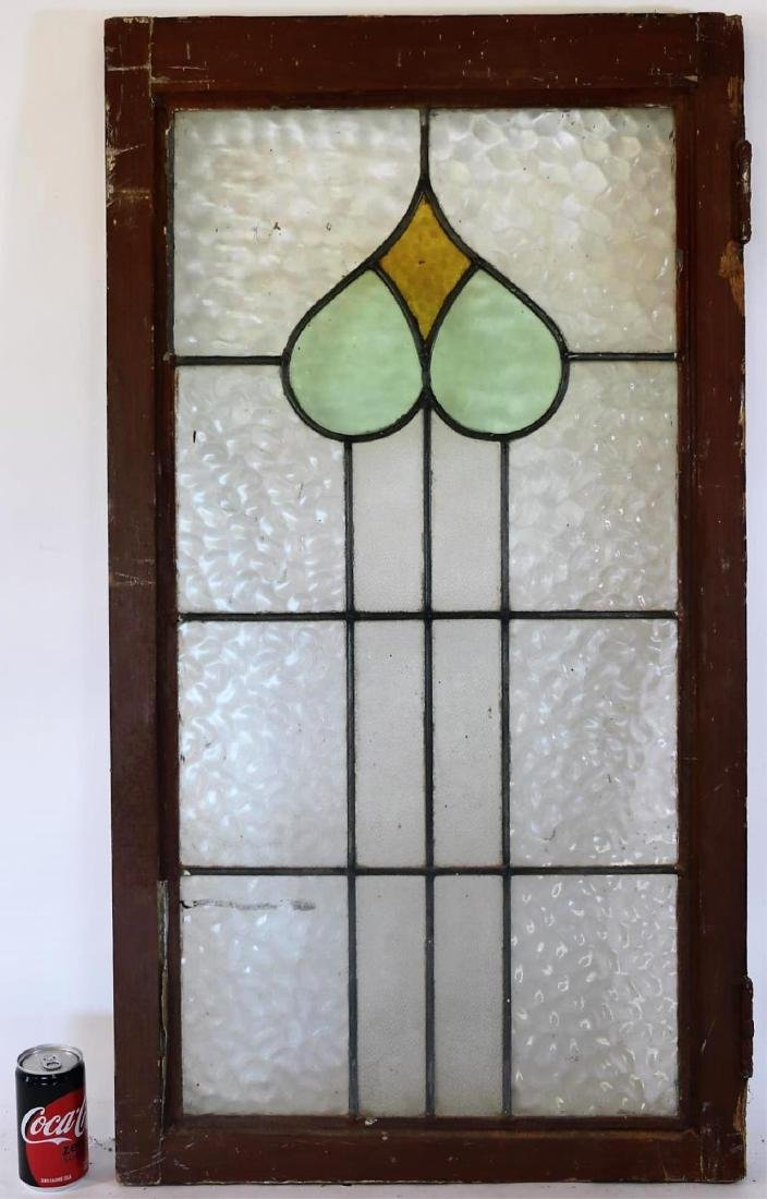 """ENGLISH ANTIQUE 38"""" VERITCAL STAINED GLASS WINDOW"""