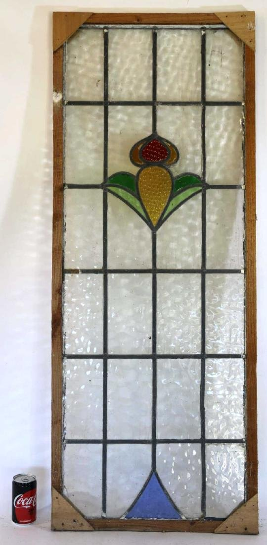 "ENGLISH 46.5"" VERTICAL STAINED GLASS WINDOW PANEL"