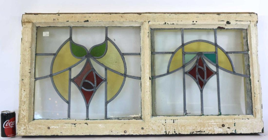 ENGLISH ANTIQUE STAINED GLASS WINDOW PAIR