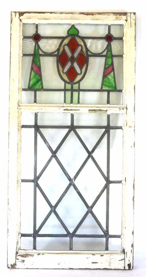 """ENGLISH ANTIQUE STAINED GLASS 48"""" VERTICAL WINDOW"""