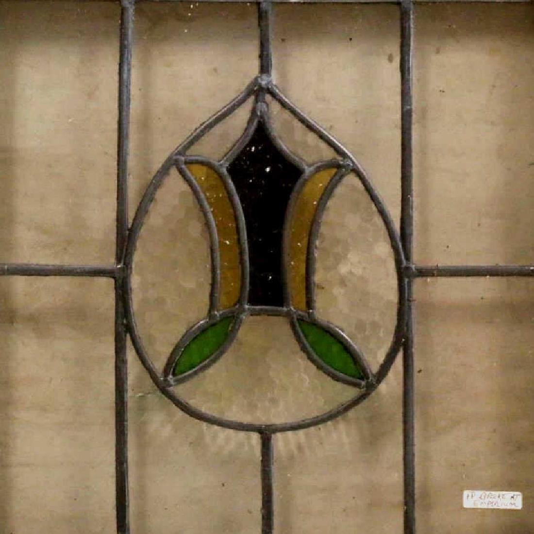 """ENGLISH ANTIQUE 21"""" SQUARE STAINED GLASS PANEL"""